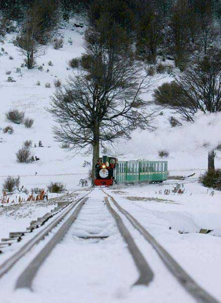 Tren del Fin del Mundo en invierno
